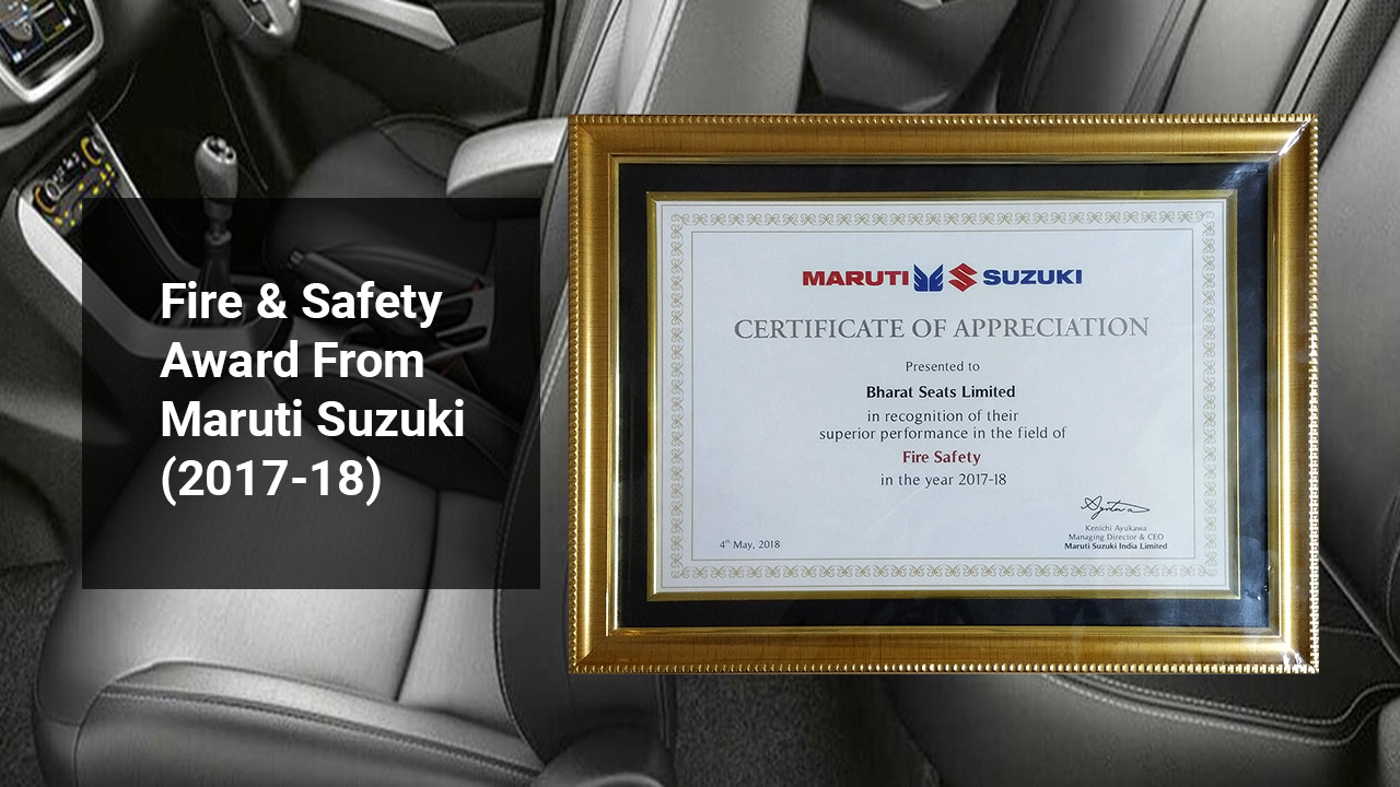 Fire & Safety Award From  Maruti Suzuki (2017-18)