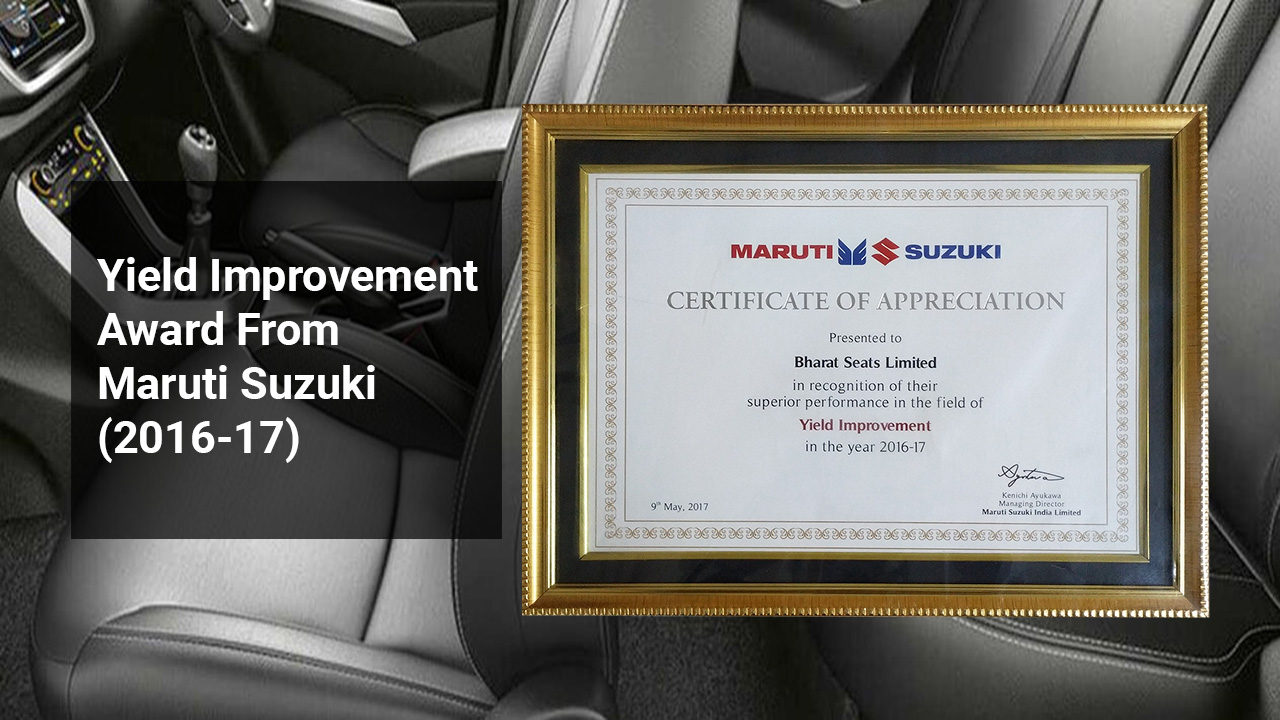 Yield Improvement Award From Maruti Suzuki (2016-17)