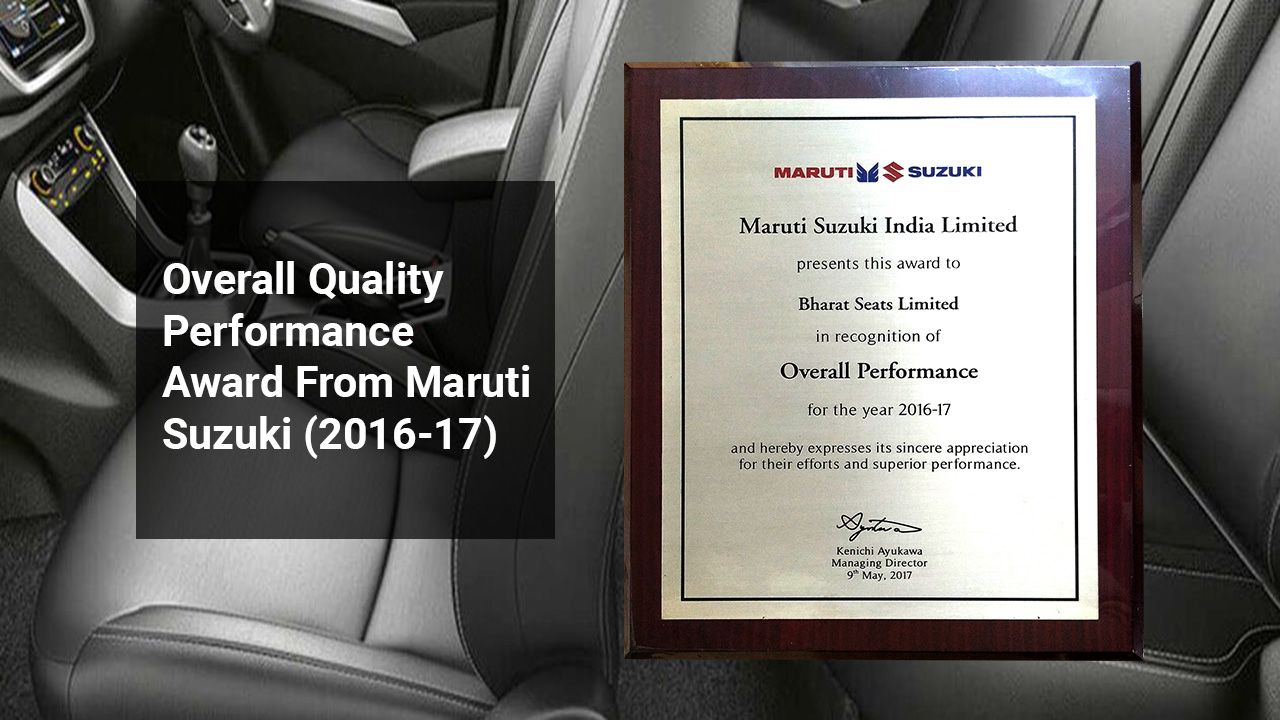 Overall Quality Performance Award From Maruti Suzuki (2016-17)